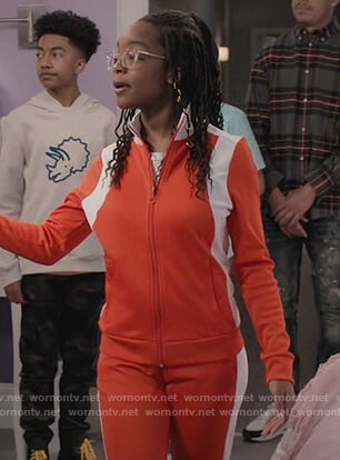 Diane's orange colorblock track jacket on Black-ish