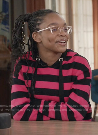 Diane's black and pink striped hoodie on Black-ish