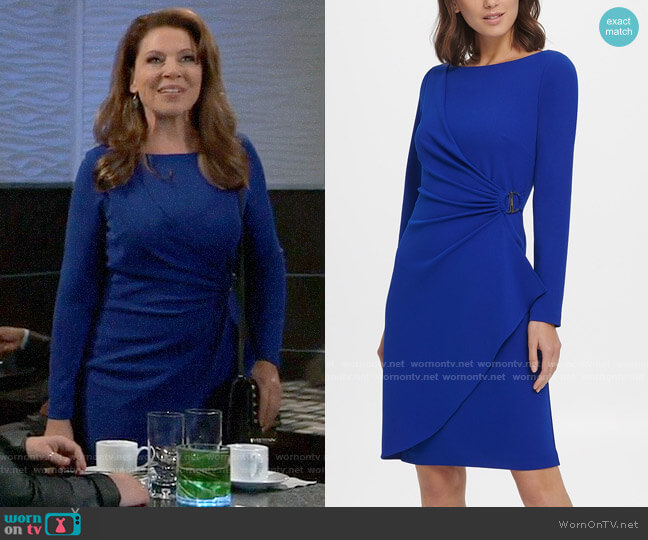 DKNY Long Sleeve Pleated D-Buckle Sheath Dress worn by Liesl Obrecht (Kathleen Gati) on General Hospital
