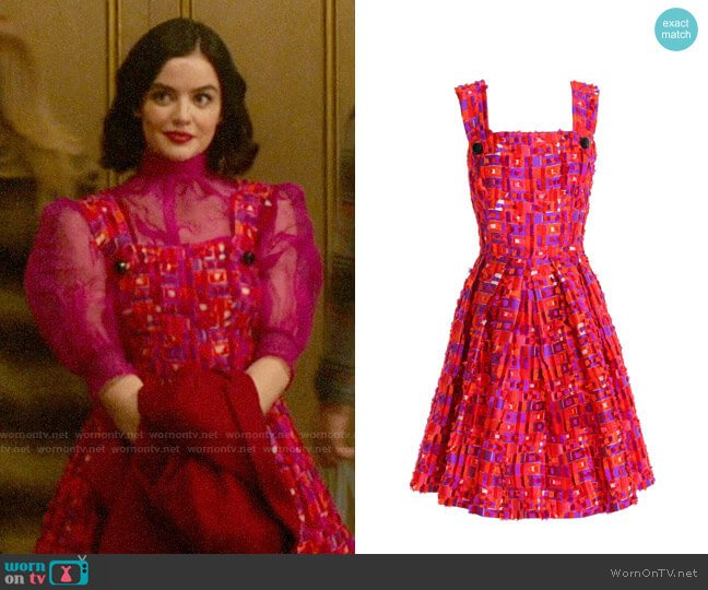 Dolce & Gabbana Flared pleated fil coupé dress worn by Katy Keene (Lucy Hale) on Katy Keene