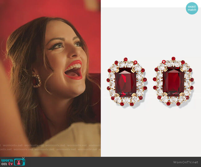 Gold-Tone Crystal Clip Earrings by Dolce & Gabbana worn by Fallon Carrington (Elizabeth Gillies) on Dynasty