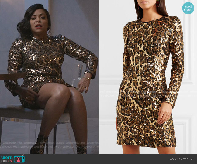 Leopard-Print Sequinned Crepe Mini Dress by Dolce & Gabbana worn by Cookie Lyon (Taraji P. Henson) on Empire