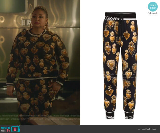 Sacred Heart Print Trousers by Dolce & Gabbana worn by Raven-Symoné on The Bold Type