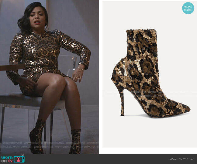 Sequined Stretch-Knit Sock Boots by Dolce & Gabbana worn by Cookie Lyon (Taraji P. Henson) on Empire