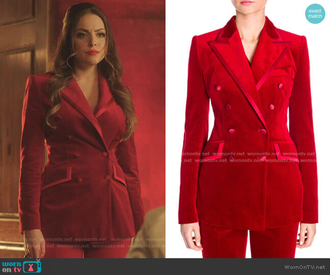 Velvet Double Breasted Blazer by Dolce & Gabbana worn by Fallon Carrington (Elizabeth Gillies) on Dynasty