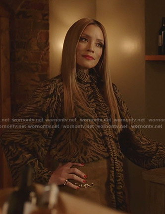 Dominique's animal print tie neck blouse on Dynasty