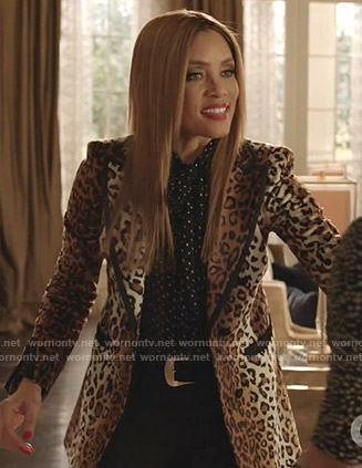 Dominique's leopard print blazer on Dynasty