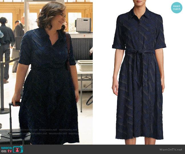 Donna Karan Chevron Flare Shirtdress worn by Sara Castillo (Lindsay Mendez) on All Rise