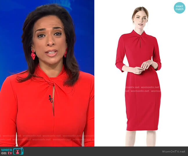 Twisted Neckline Sheath Dress by Donna Morgan worn by Michelle Miller on CBS This Morning