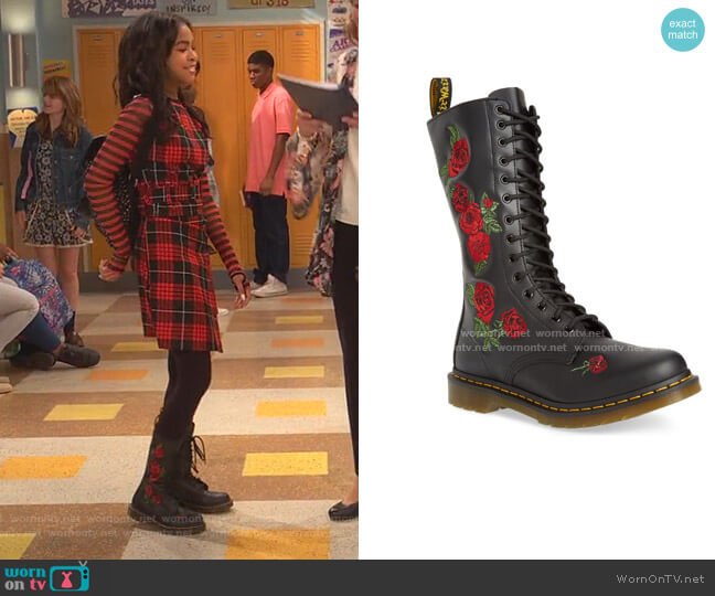 Vonda Lace-Up Boot by Dr. Martens worn by Nia Baxter (Navia Robinson) on Ravens Home