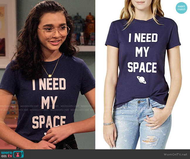 Dream Scene I Need My Space T-shirt worn by Ashley Garcia (Paulina Chávez) on The Expanding Universe of Ashley Garcia