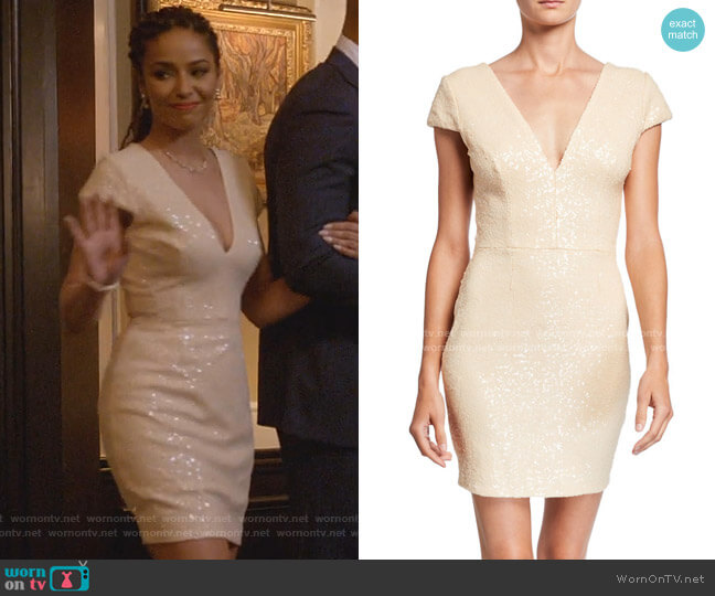 Zoe Sequin V-Neck Cap-Sleeve Sheath Dress by Dress The Population worn by Teri Brooks-Lyon (Meta Golding) on Empire