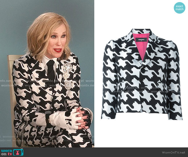 Digital Houndstooth Jacket by Dsquared2 worn by Moira Rose (Catherine O'Hara) on Schitts Creek