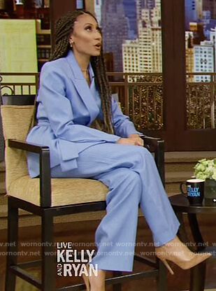Elaine Welteroth's blue belted blazer and pants on Live with Kelly and Ryan