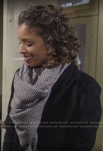 Elena's grey square print scarf on The Young and the Restless