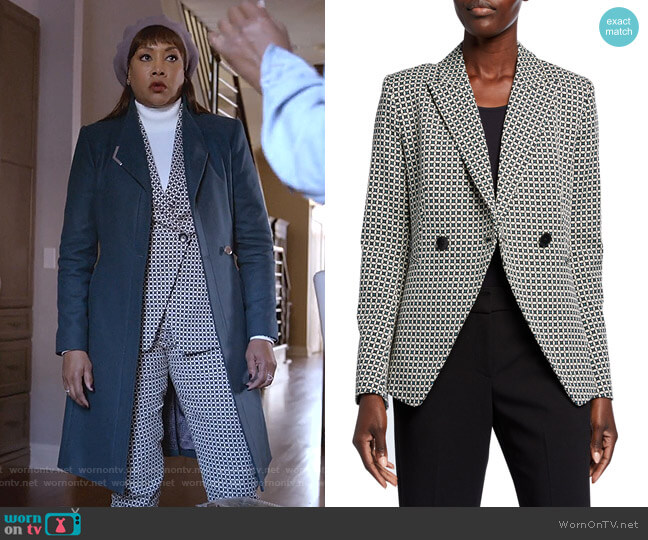 Jezebel Geo Double-Breasted Jacket by Elite Tahari worn by Vivica A. Fox on Empire