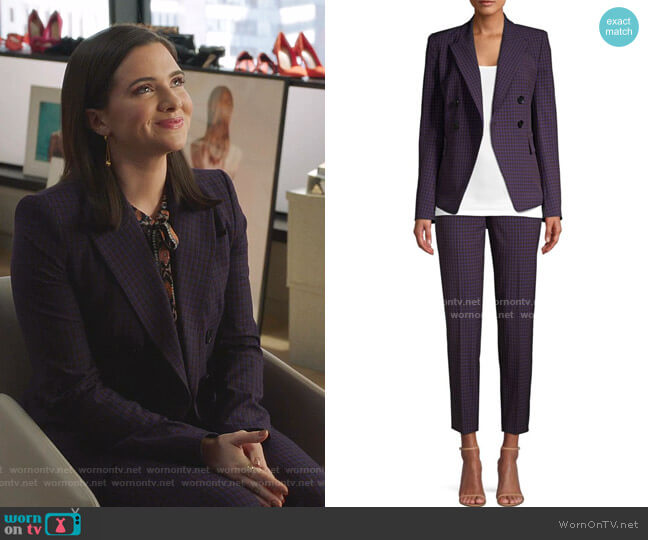 Jezebel Double Breasted Check Jacket and Marcia Pants by Elie Tahari worn by Jane Sloan (Katie Stevens) on The Bold Type