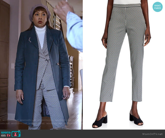 Marcia Geometric Straight-Leg Ankle Pants by Elite Tahari worn by Vivica A. Fox on Empire