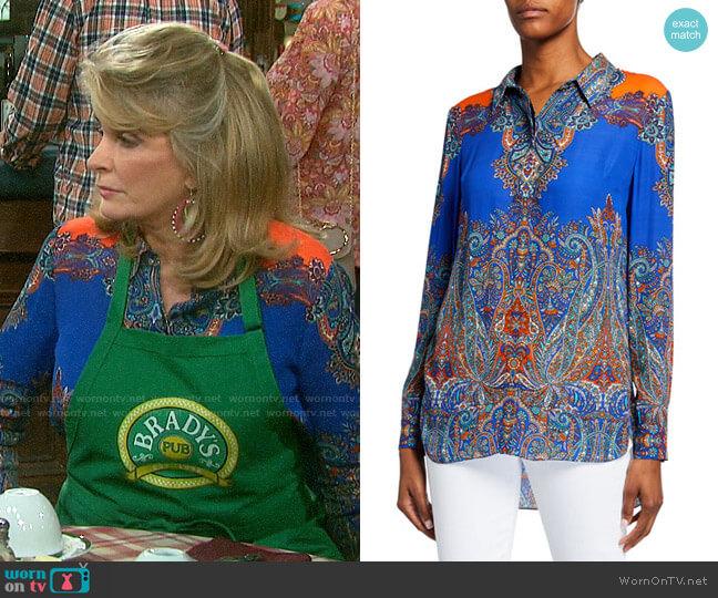 Elie Tahari Martha Blouse worn by Hattie Adams (Deidre Hall) on Days of our Lives