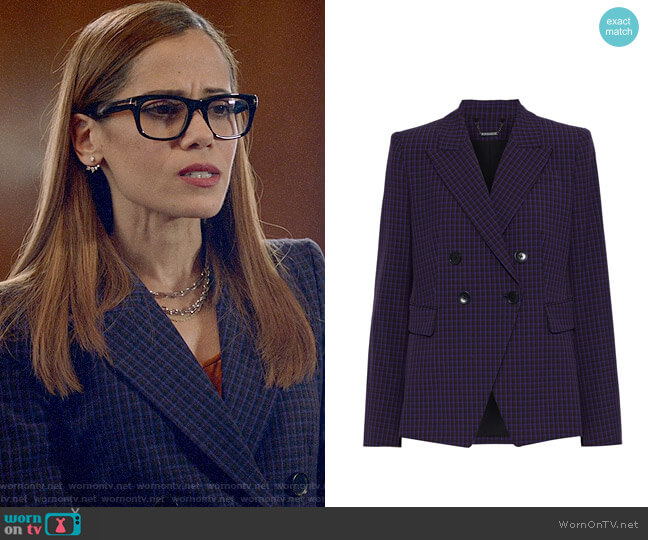 Elie Tahari Jezebel Checked Blazer worn by Amanda Doherty (Victoria Cartagena) on Almost Family