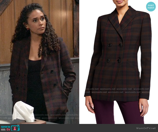 Elie Tahari Launie Blazer worn by Jordan Ashford (Briana Nicole Henry) on General Hospital