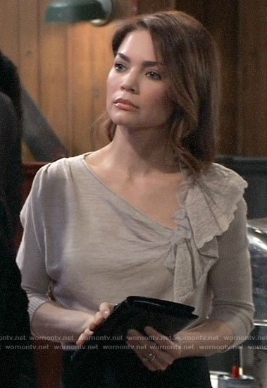 Elizabeth's beige sweater with ruffle on General Hospital