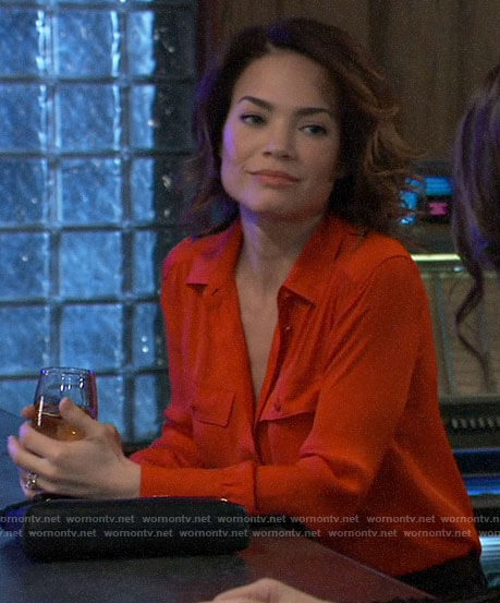 Elizabeth's red button down shirt on General Hospital