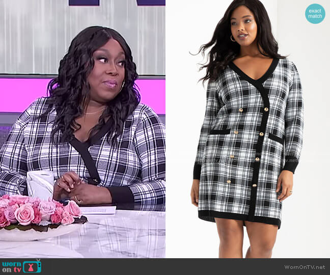 Checkered Sweater Dress by Eloquii worn by Loni Love  on The Real