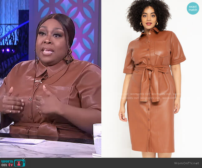 Faux Leather Trench Dress by Eloquii worn by Loni Love  on The Real