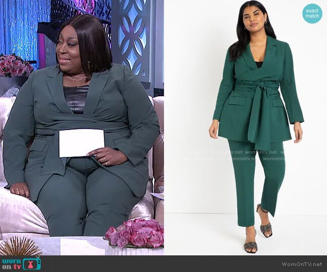 Long Tie Waist Blazer and Regular Fit Kady Pant by Eloquii worn by Loni Love  on The Real