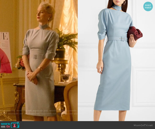 Emilia Wickstead + The Woolmark Company Belted Wool-crepe Midi Dress worn by  Gloria Grandbilt (Katherine LaNasa) on Katy Keene