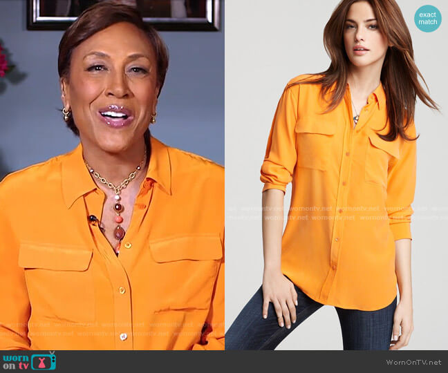 Signature Two Pocket Blouse by Equipment worn by Robin Roberts  on Good Morning America