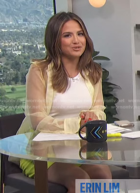 Erin's yellow sheer shirt and belted shorts on E! News Daily Pop