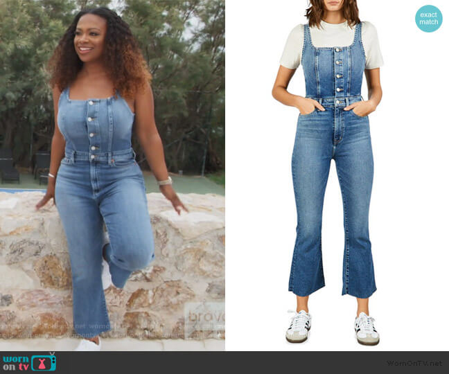 Ivy Denim Overalls by Etica worn by Kandi Burruss  on The Real Housewives of Atlanta