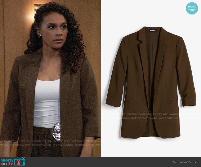 Express Rolled Sleeve Notch Collar Boyfriend Blazer worn by Jordan Ashford (Briana Nicole Henry) on General Hospital
