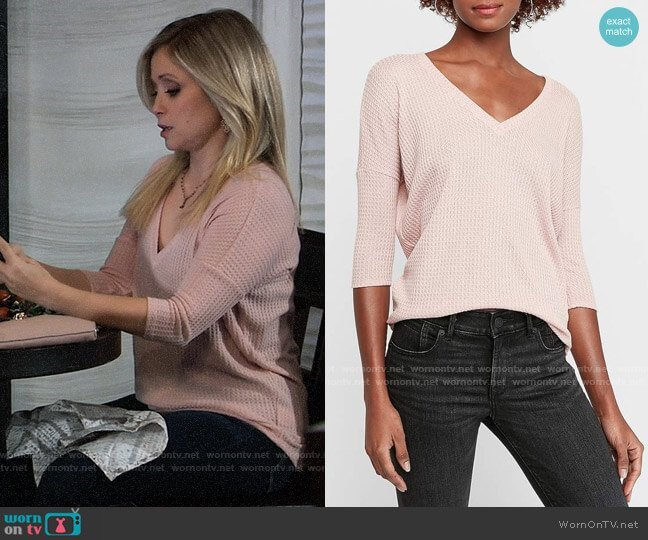 Express Soft Waffle Knit V-Neck London Tee worn by Lulu Spencer Falconeri (Emme Rylan) on General Hospital