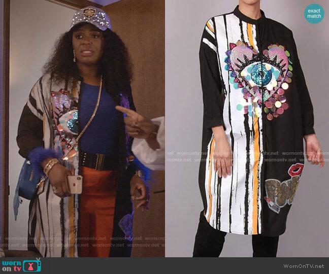 Eye Heart You Sequin Shirt Dress by Akira Label worn by Porsha Taylor (Ta'Rhonda Jones) on Empire