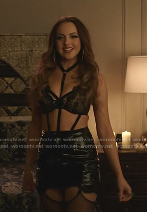 Fallon's black strap bodysuit and lace bra on Dynasty
