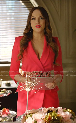 Fallon's pink blazer dress and leopard belt on Dynasty