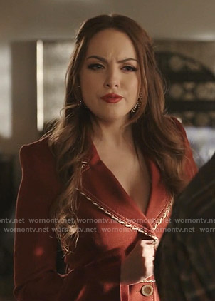 Fallon's red rope tie waist blazer on Dynasty