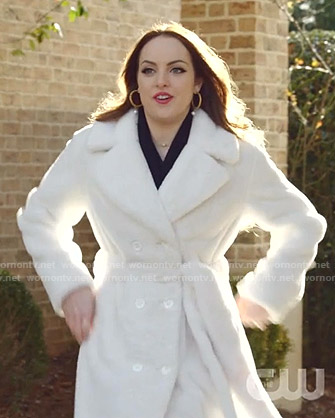 Fallon's white double breasted fur coat on Dynasty