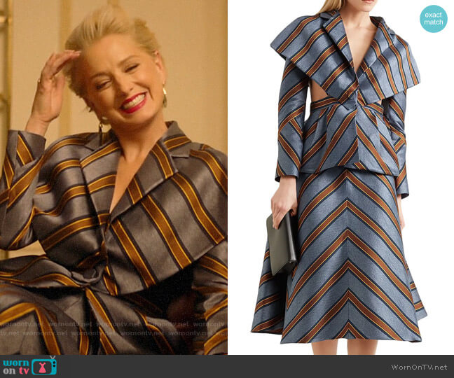 Fendi Cape-effect cutout striped jacquard jacket and Skirt worn by  Gloria Grandbilt (Katherine LaNasa) on Katy Keene
