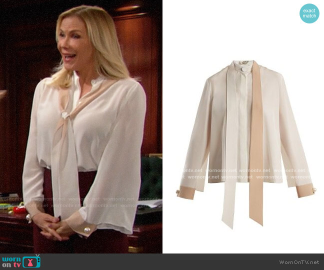 Fendi Tie Neck Blouse worn by Brooke Logan (Katherine Kelly Lang) on The Bold & the Beautiful
