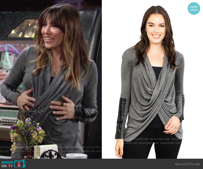 Fifteen Twenty Leather Patch Crossover Top worn by Chloe Mitchell (Elizabeth Hendrickson) on The Young & the Restless