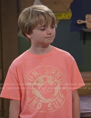 Finn's orange surf graphic tee on Bunkd