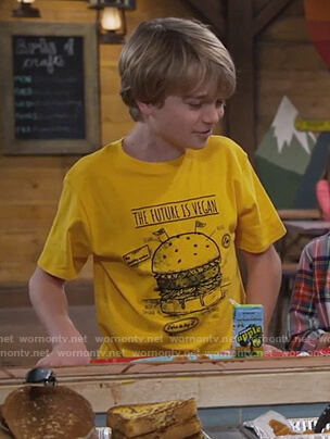 Finn's yellow vegan burger print tee on Bunkd