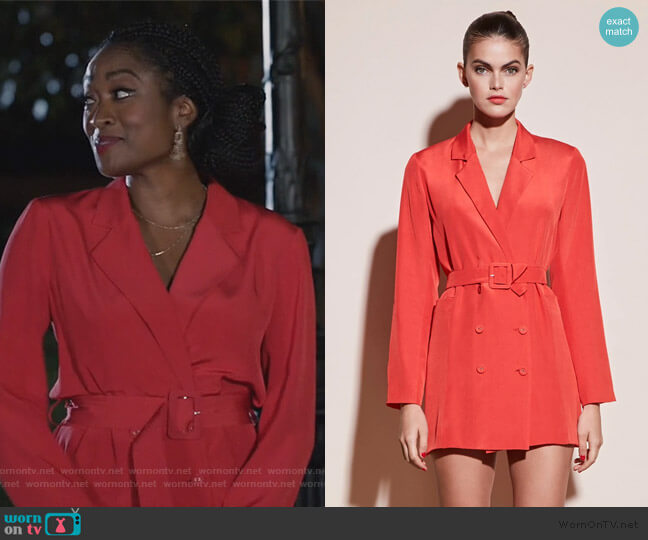 Belted Blazer Dress by Fleur Du Mal worn by Rochelle Mosley (Kayla Smith) on All American