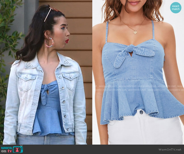 Chambray Tie Bust Cami by Forever 21 worn by Cheyenne (Nichole Bloom) on Superstore