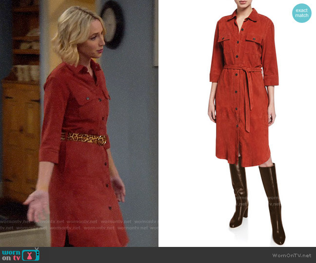 Frame Belted Suede Military Shirt Dress worn by Mandy Baxter (Molly McCook) on Last Man Standing