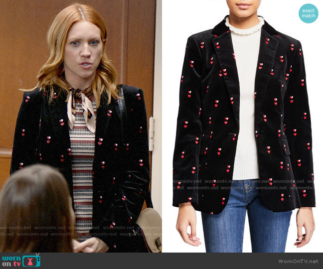 Frame Heart-Embroidered Velvet Classic Blazer worn by Julia Bechley (Brittany Snow) on Almost Family